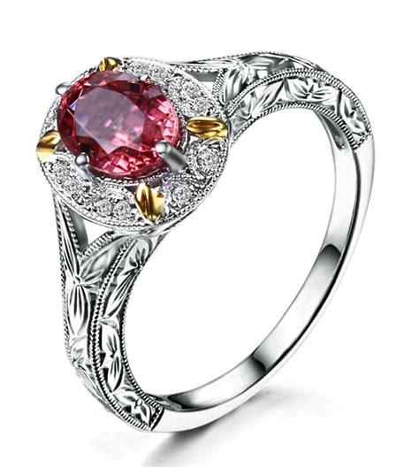 antique 1 carat morganite and engagement ring in