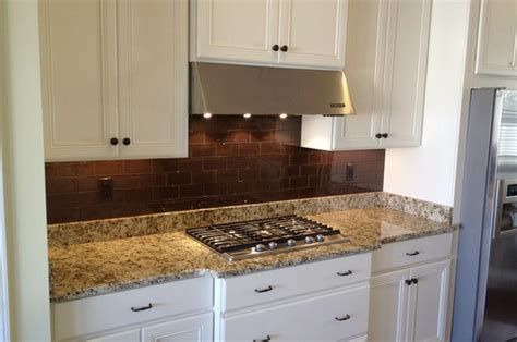 brown glass subway tile backsplash cinnamon brown subway tile kitchen traditional kitchen