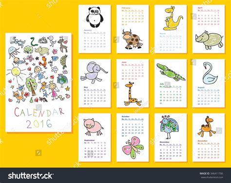 doodle calendar for calendar 2016 doodle animals every stock vector
