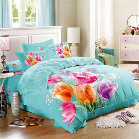 Pink And Orange Bedding Sets Pink Orange Purple Tulips 3d Floral Bedding Set Size Cotton Fabric Bed Sheets Duvet Cover