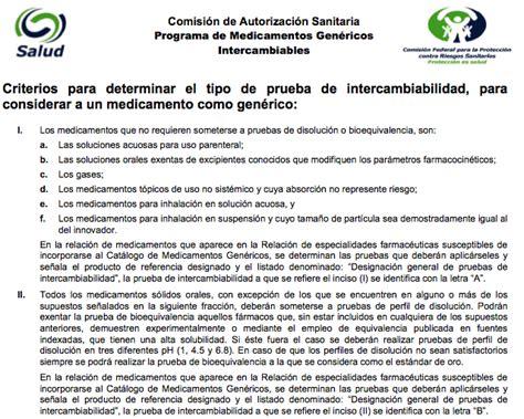 examen cofepris para dispensacion bioequivalentes be cofepris criterios para determinar