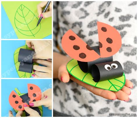 ladybug paper craft construction paper ladybug on a leaf easy peasy and