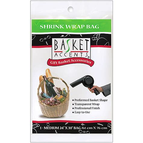 shrink wrap gifts basket accents medium clear shrink wrap bag 1 pack