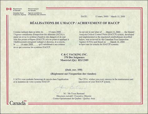 haccp certification letter haccp