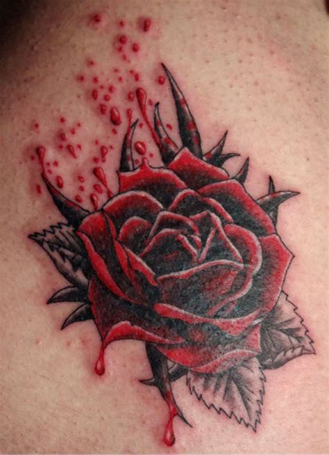 bleeding rose tattoo 121 traditional modern tattoos and designs