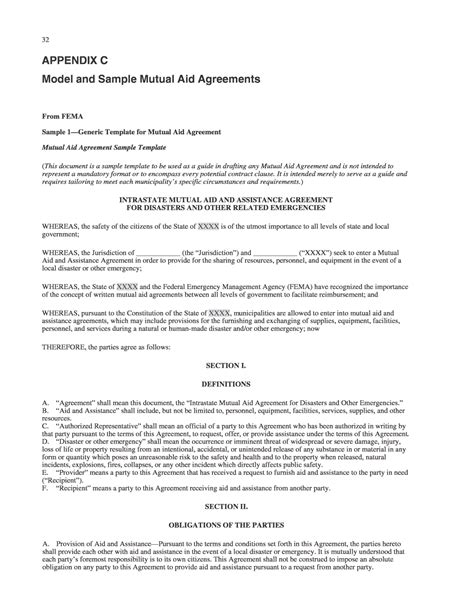 aid agreement template appendix c model and sle aid agreements