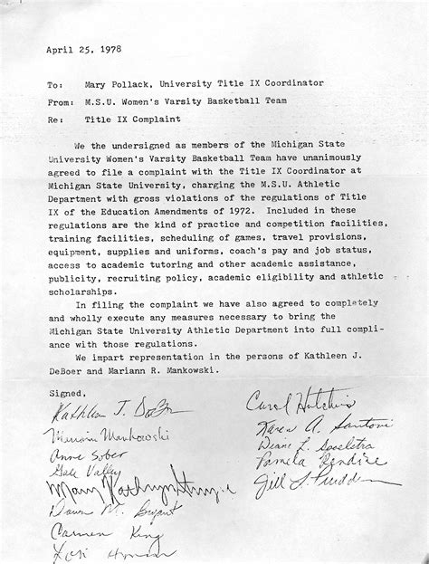 Complaint Letter Subject Msu Sports History