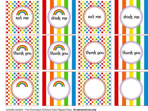 free printable rainbow party decorations rachelle rachelle rainbow party printables