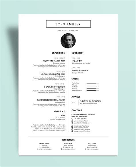 video cv layout free simple minimal layout resume cv design template