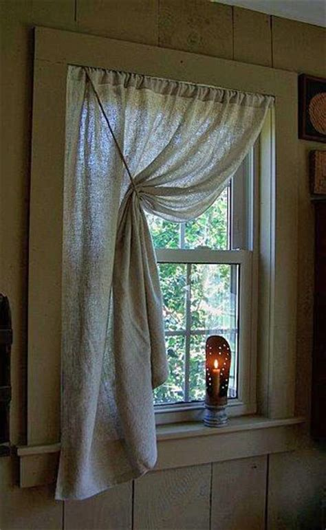 curtains to window sill prim love the curtains the tin candle holder on the