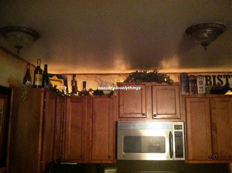 beautifullovelythings above kitchen cabinet decor