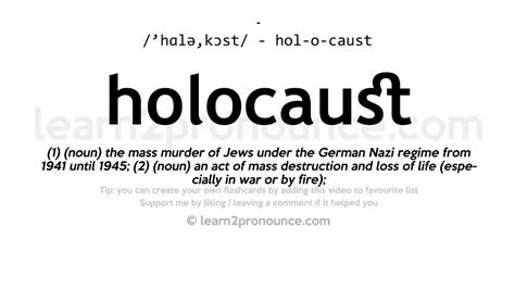 biography meaning and pronunciation holocaust pronunciation and definition youtube