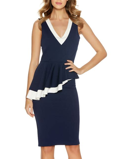 Navy Tv Ads Featuring Their Shorts And Dresses by Quiz Navy Peplum Midi Dress In Blue Lyst