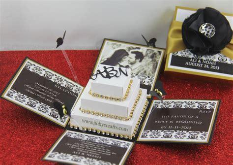 wedding invitations in box black gold damask exploding box wedding invitation