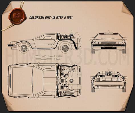 delorean blueprint delorean dmc 12 bttf 1981 blueprint hum3d