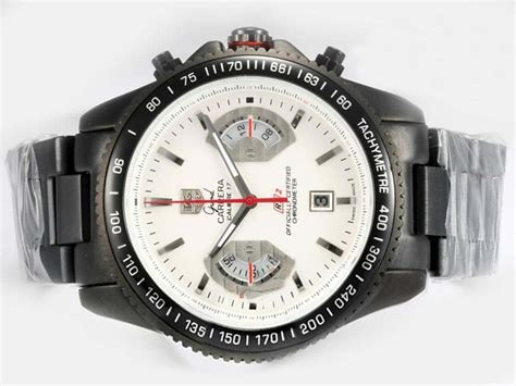 Tag Calibre17 Supercopy Fullblack copy watches tag heuer calibre 17 working chronograph pvd white rubber