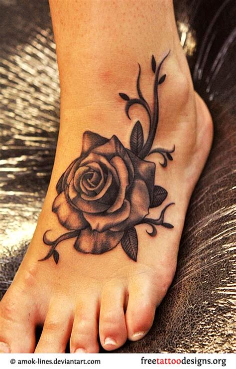 rose tattoo designs for foot foot tattoos