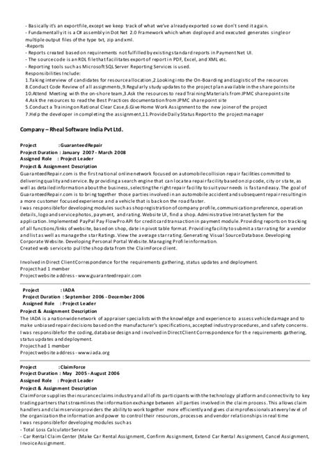 sle dot net resume for experienced 28 dot net experience resume sle resume for net