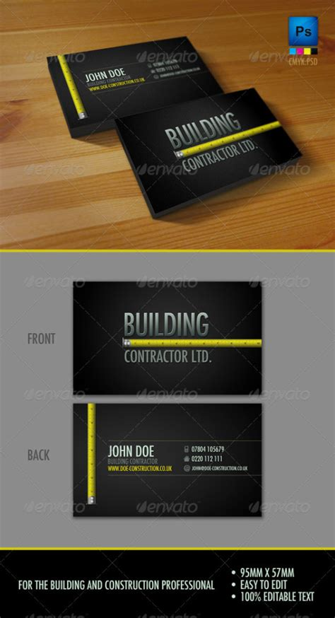 construction business cards templates free 60 free premium psd business card template
