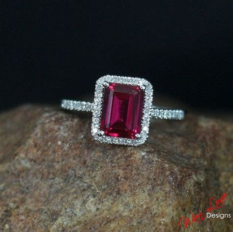 Blood Ruby 14 75ct ruby halo engagement ring 2ct 8x6mm by