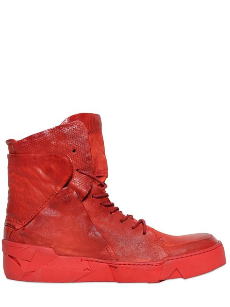 best sneaker shoes for lyst a s 98 embossed leather high top sneakers in