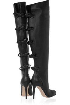 valentino knee high black boots w bows accessories