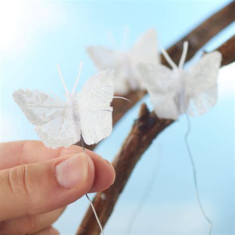 miniature white glitter artificial butterflies