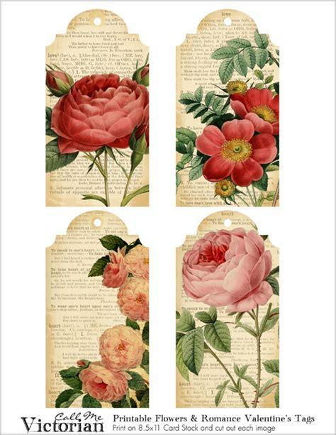 printable victorian flowers free printable flower tags for valentine s day call me