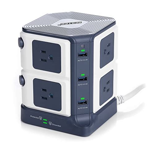 surge protector with usb charging ports bestek power strip surge protector 8 outlet 1500 joules
