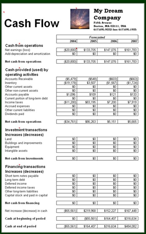 business cash flow statement