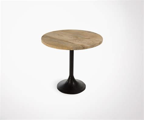 table de bar cm plateau rond bois pied metal ideale