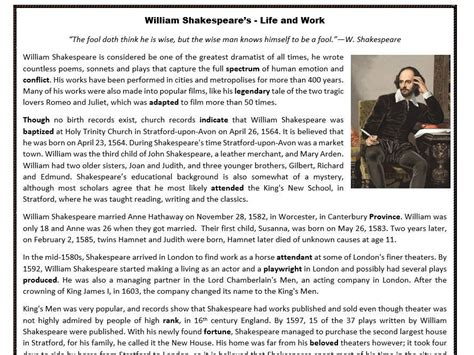 biography reading comprehension william shakespeare s life and work reading