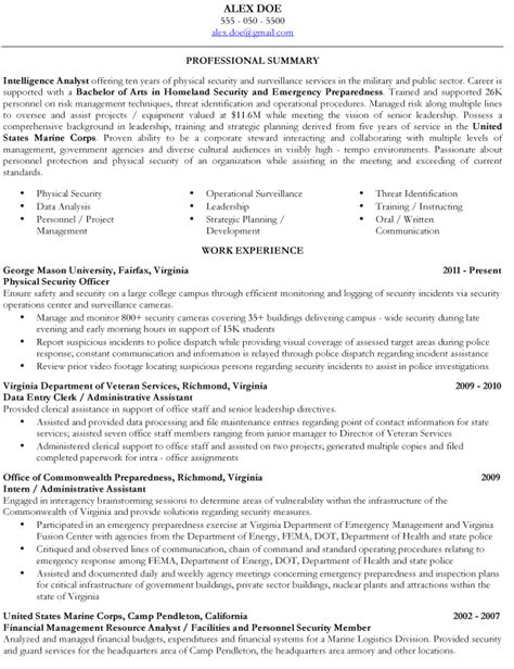 resume objective exles for veterans veterans resume builder resume ideas