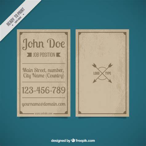 Vintage Business Cards Templates Free by Vintage Business Card Template Vector Free
