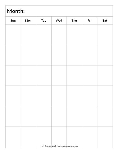 blank calendar weeks portrait
