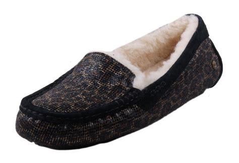 glitter slipper shoes ugg ansley womens leopard print glitter black moccasin