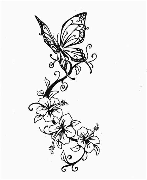 Tatto Vorlagen Muster Vorlage Mit Schmetterling Und Hibiskus Blumen Meine Vorlagen