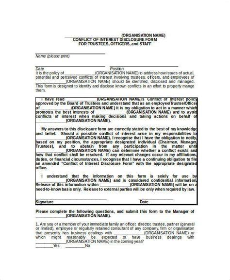 conflict of interest disclosure form template 26 sle statement forms in doc
