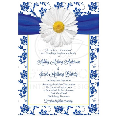 Your Wedding Invitations by Wedding Invitation Royal Blue Floral Damask Ribbon