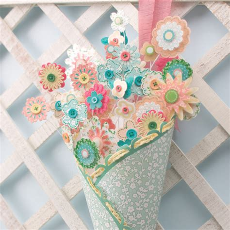 Scrapbook Paper Crafts - flower patch bouquet think crafts by createforless