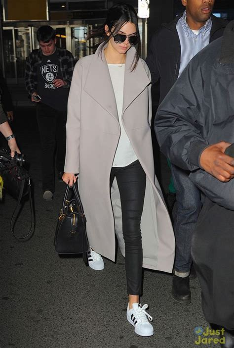 kendall jenner in the adidas superstar grey superstar and
