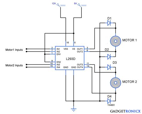 bidirectional motor controller circuit using l293d