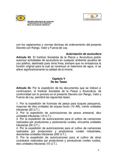 Ley De Pesca Y Acuicultura Decreto Con Rango Valor Y Fuerza De Ley   ley de pesca y acuicultura decreto con rango valor y