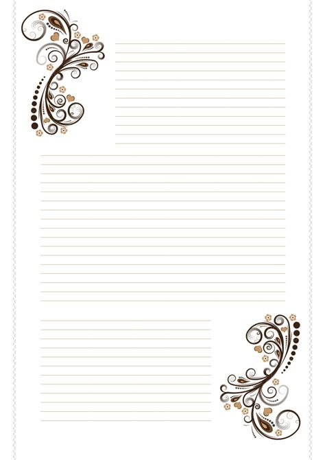 printable stationery black and white with lines free stationary brown swirls by cpchocccc on deviantart