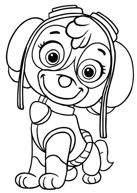 coloring paw patrol sky of paw patrol free colouring pages
