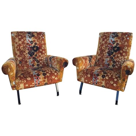 Fabric Armchairs For Sale by Pair Of Original Italian Mid Century Armchairs With Iconic
