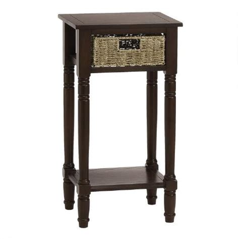 walnut end table with seagrass drawer christmas tree