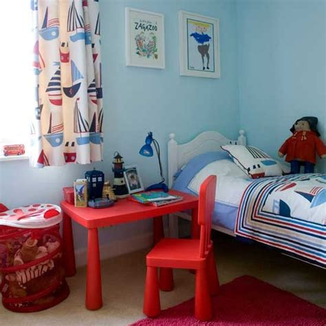 Google Office Playroom nautical boys bedroom with bright red desk boys bedroom