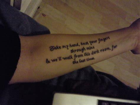 tattoo lyrics on arm forearm snow patrol tattoo picture at checkoutmyink com