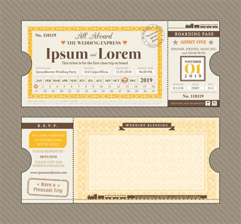 first class ticket with wedding invitation templates
